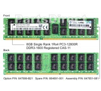 647651-081 Оперативная память HP 1x 8GB DDR3-1600 RDIMM PC3-12800R Single Rank x4