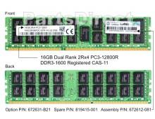 672612-081 HP 16GB 2Rx4 PC3-12800R-11 Kit