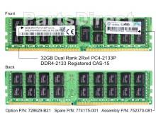 728629-B21 Оперативная память HP 32GB (1x32GB) DDR4-2133MHz Registered CAS-15